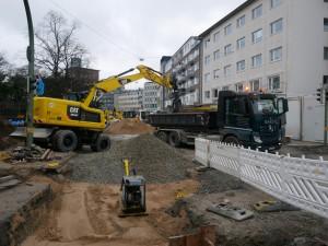 Arbeiten der Versorger Friedrich-Verleger-Straße