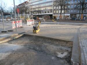 Pflasterarbeiten Fahrbahn Friedenstraße