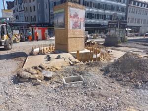 Fundament der Uhr am Jahnplatz